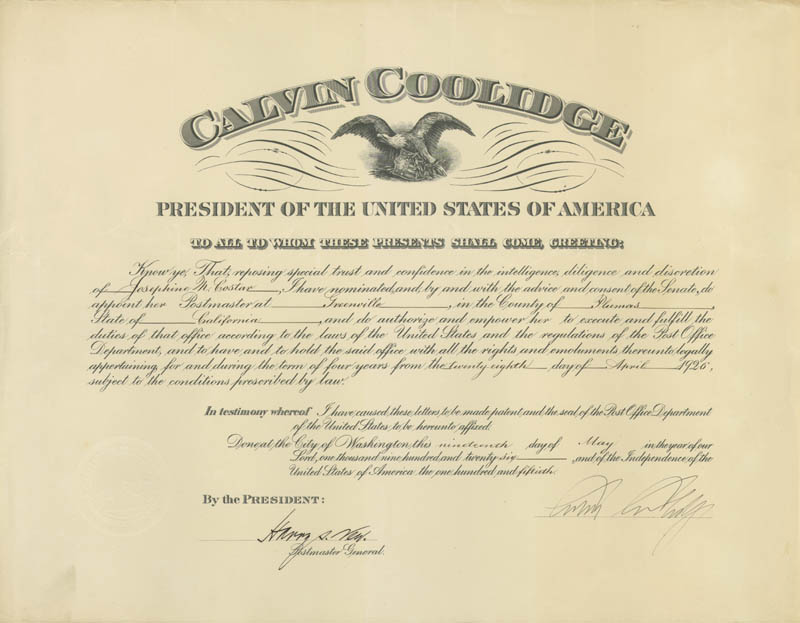 Image 1 for President Calvin Coolidge - Civil Appointment Signed 05/19/1926 co-signed by: Harry S. New - HFSID 17023