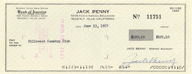 Image 1 for Jack Benny - Autographed Signed Check 06/13/1967 - HFSID 171081