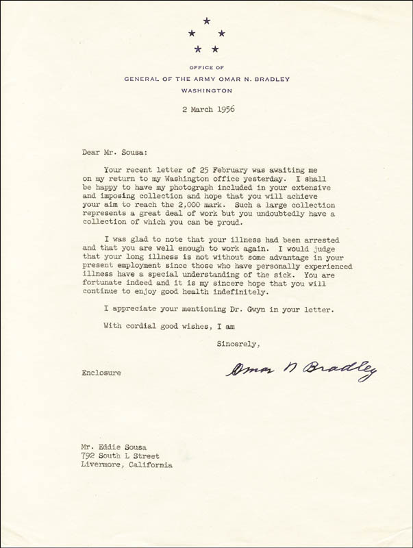 Image 1 for General Omar N. Bradley - Typed Letter Signed 03/02/1956 - HFSID 171134
