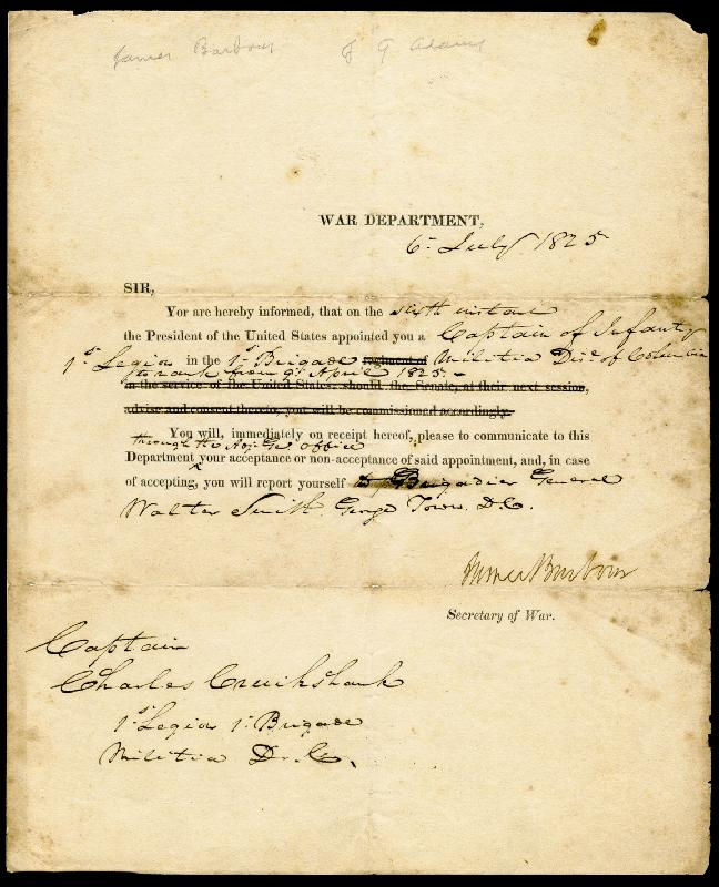 Image 1 for James Barbour - Military Appointment Signed 07/06/1825 - HFSID 17116