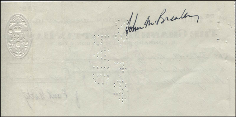 Image 3 for J. Paul Getty - Autographed Signed Check 04/15/1964 co-signed by: John M. Brealey - HFSID 171183