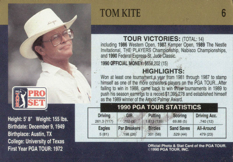 Image 3 for Tom Kite Jr. - Trading/Sports Card Signed - HFSID 171264
