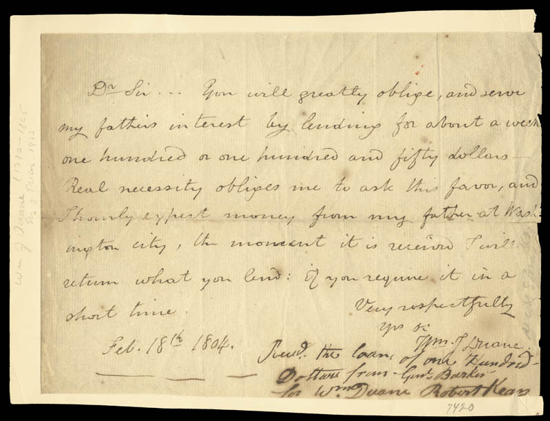 Image 1 for William J. Duane - Autograph Letter Signed 02/18/1804 co-signed by: Robert Kean - HFSID 17127