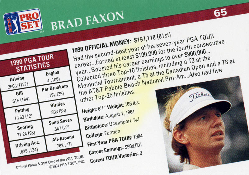Image 3 for Brad Faxon - Trading/Sports Card Signed - HFSID 171311