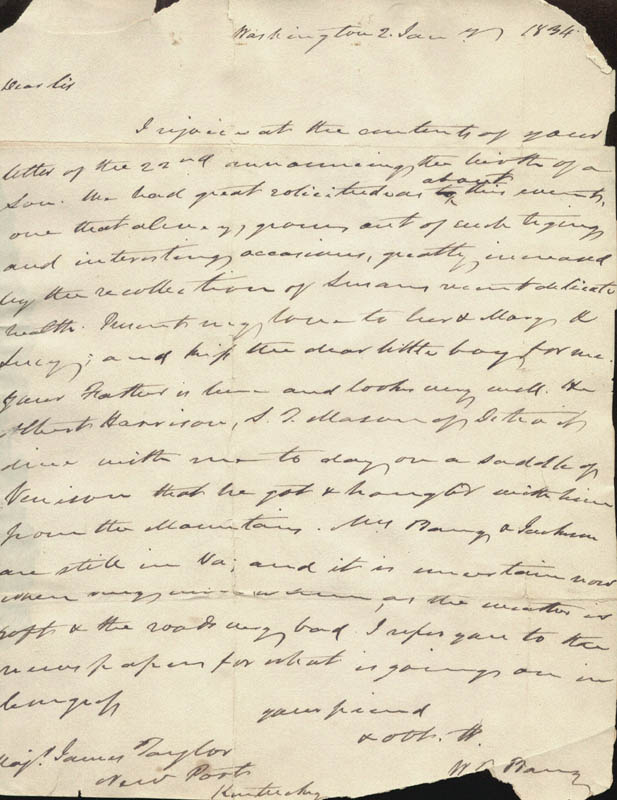 Image 1 for William T. Barry - Autograph Letter Signed 01/02/1834 - HFSID 17134