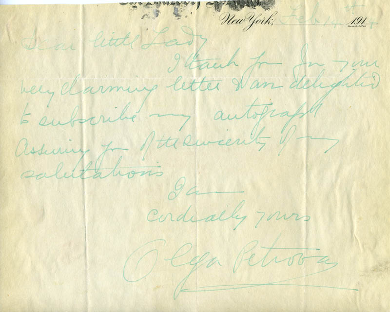 Image 1 for Olga Petrova - Autograph Letter Signed 02/14/1914 - HFSID 171865