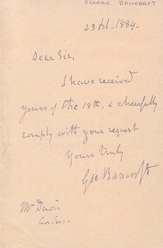Image 1 for George Bancroft - Autograph Letter Signed 02/23/1884 - HFSID 17208