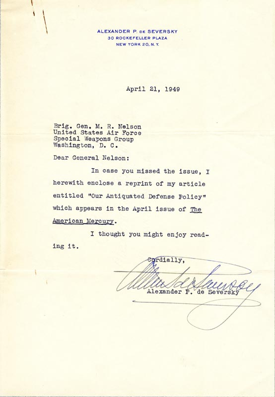 Image 1 for Alexander De Seversky - Typed Letter Signed 04/21/1949 - HFSID 172187
