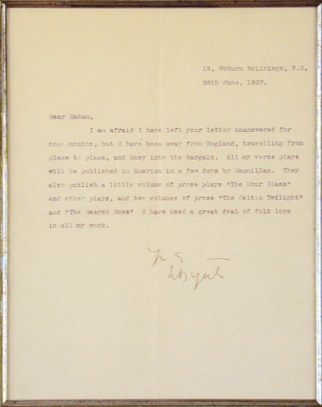 Image 3 for William Butler Yeats - Typed Letter Signed 06/28/1907 - HFSID 172351
