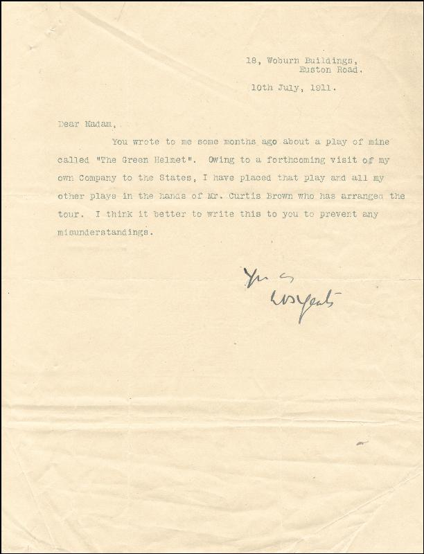 Image 1 for William Butler Yeats - Typed Letter Signed 07/10/1911 - HFSID 172353