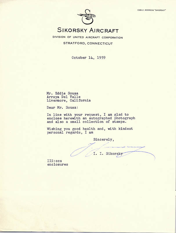 Image 1 for Igor Sikorsky - Typed Letter Signed 10/14/1959 - HFSID 172364