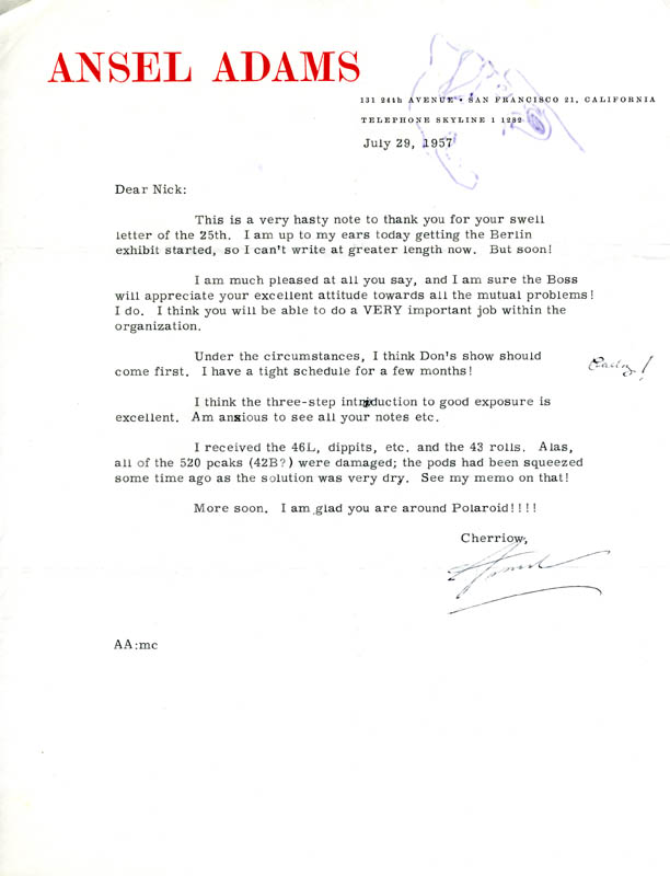 collection of 7 typed signed letters from ansel adams to nick dean