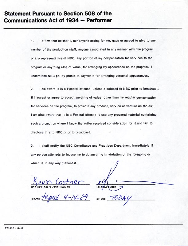 Image 1 for Kevin Costner - Document Signed 04/14/1989 - HFSID 172542