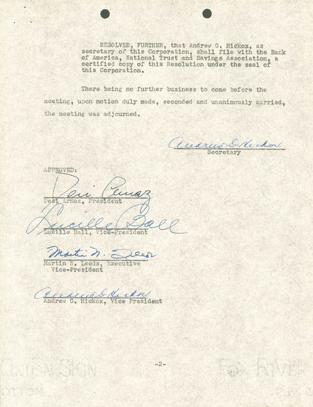 Image 3 for Lucille 'Lucy' Ball - Corporate Minutes Signed 04/20/1955 co-signed by: Martin N. Leeds, Andrew G. Hickox, Desi Arnaz Sr. - HFSID 172796