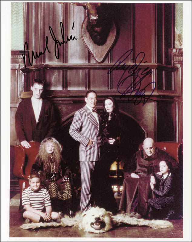 Image 1 for The Addams Family Movie Cast - Autographed Signed Photograph co-signed by: Raul Julia, Anjelica Huston - HFSID 173047