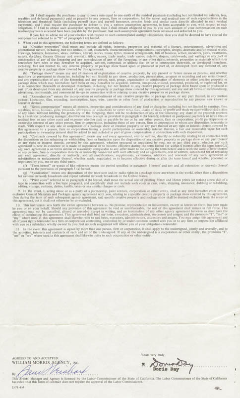 Image 1 for Doris Day - Contract Double Signed 11/15/1973 - HFSID 173089