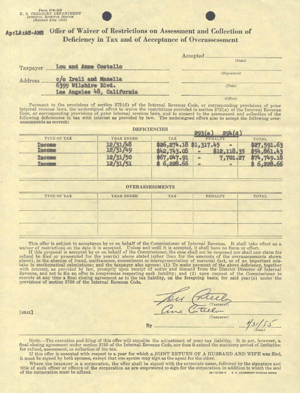 Image 1 for Abbott & Costello (Lou Costello) - Document Signed 01/31/1955 co-signed by: Anne (Mrs. Lou) Costello - HFSID 173129