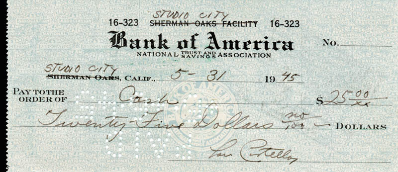 Image 1 for Abbott & Costello (Lou Costello) - Autographed Signed Check 05/31/1945 - HFSID 173130