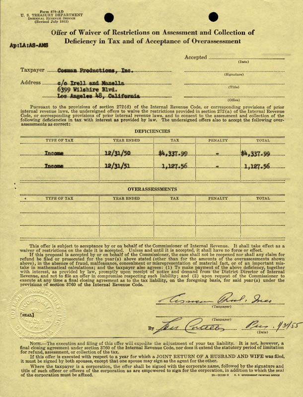 Image 1 for Abbott & Costello (Lou Costello) - Document Signed 01/31/1955 - HFSID 173146