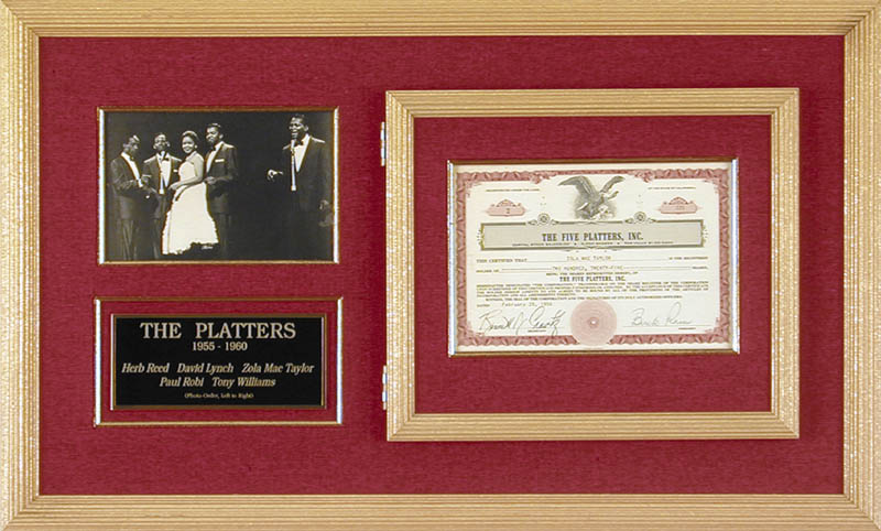 Image 1 for The Platters - Stock Certificate Signed 02/29/1956 co-signed by: The Platters (Buck Ram), The Platters (Zola Mae Taylor), Bennett J. Cravitz - HFSID 173147