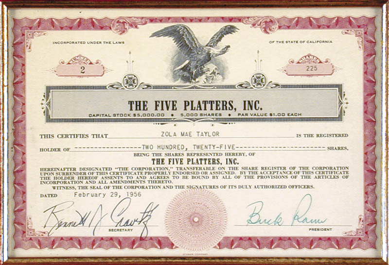 Image 3 for The Platters - Stock Certificate Signed 02/29/1956 co-signed by: The Platters (Buck Ram), The Platters (Zola Mae Taylor), Bennett J. Cravitz - HFSID 173147
