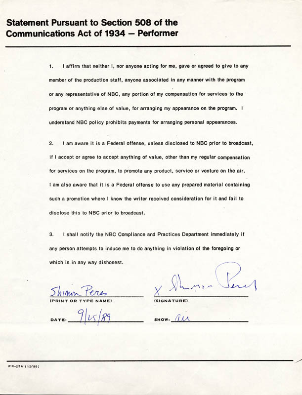 Image 1 for Prime Minister Shimon Peres - Document Signed 09/25/1989 - HFSID 173154