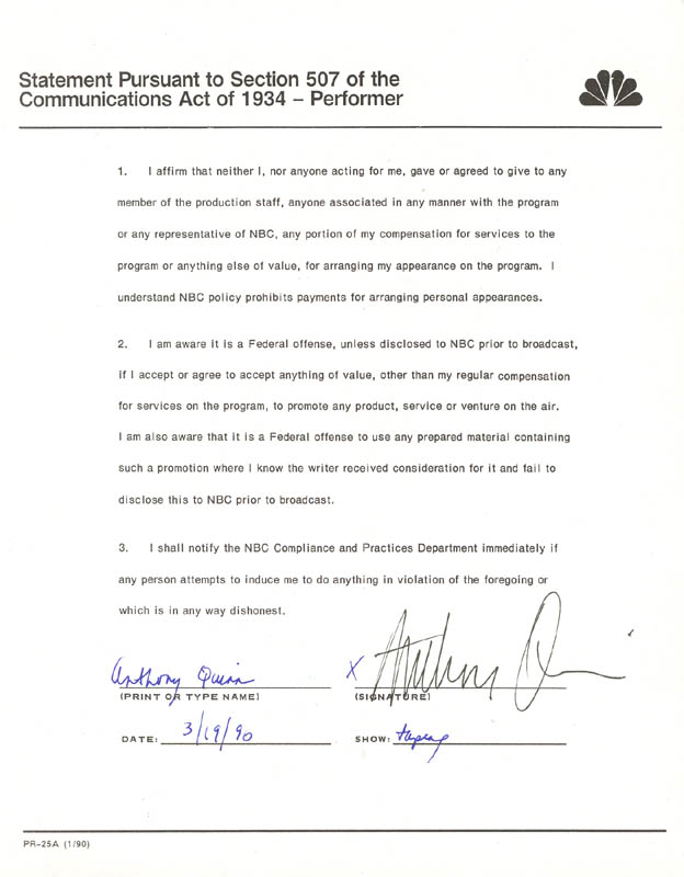 Image 1 for Anthony Quinn - Document Signed 03/19/1990 - HFSID 173178