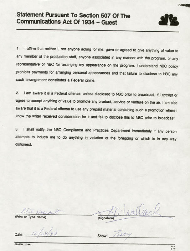 Image 1 for Eli Wallach - Document Signed 12/24/1990 - HFSID 173188