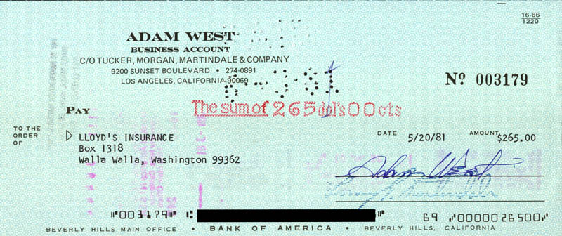 Image 1 for Adam West - Autographed Signed Check 05/20/1981 - HFSID 173199