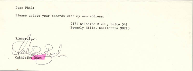 Image 1 for Catherine Bach - Typed Note Signed - HFSID 173223