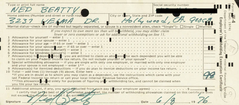 Image 1 for Ned Beatty - Document Signed 06/08/1976 - HFSID 173226