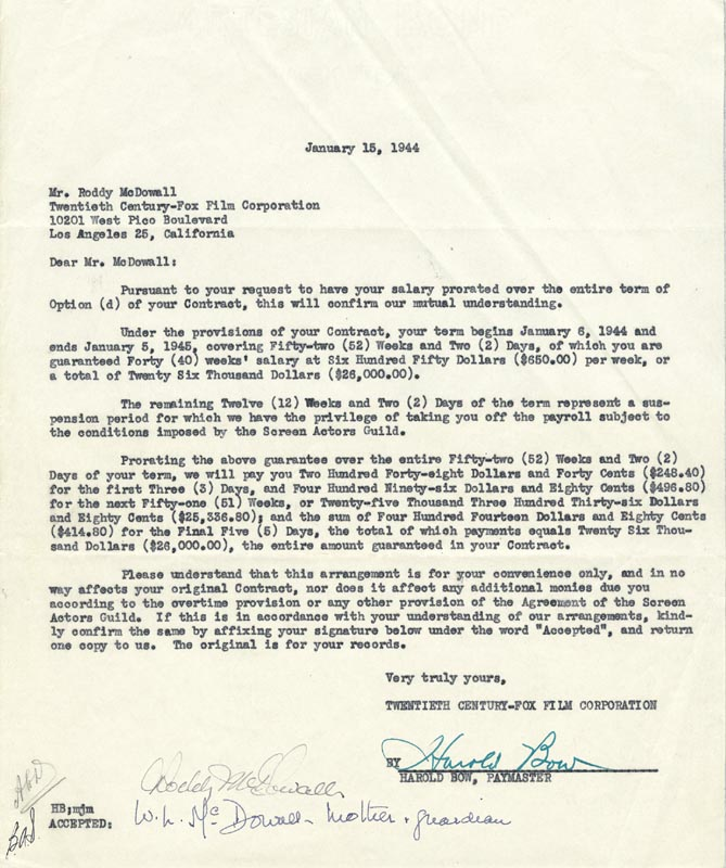 RODDY McDOWALL - CONTRACT SIGNED 01/15/1944 CO-SIGNED BY: HAROLD BOW,  WINEFRED L. McDOWALL - HFSID 173292