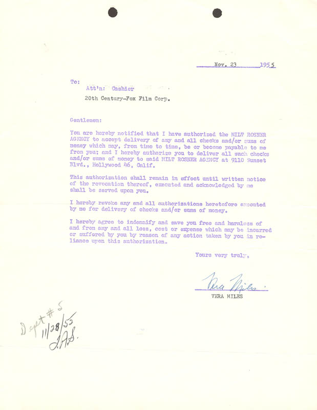 Image 1 for Vera Miles - Document Signed 11/23/1955 - HFSID 173305