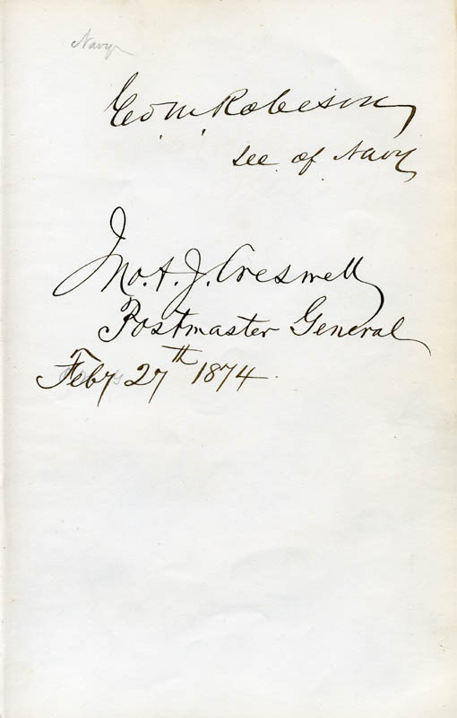 Image 1 for George M. Robeson - Autograph 02/27/1874 co-signed by: John A.J. Creswell - HFSID 17331