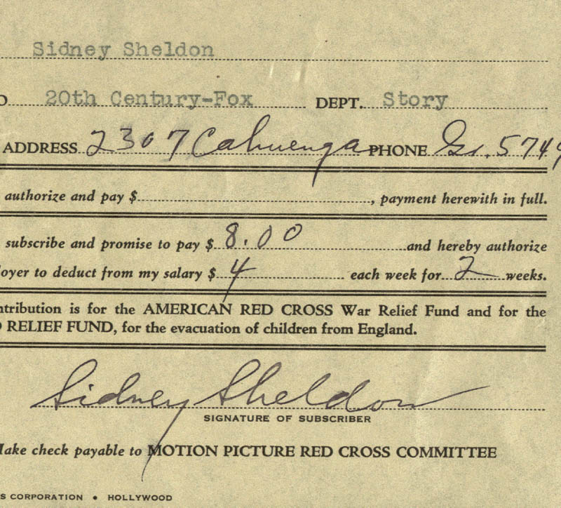 Image 1 for Sidney Sheldon - Document Signed - HFSID 173339