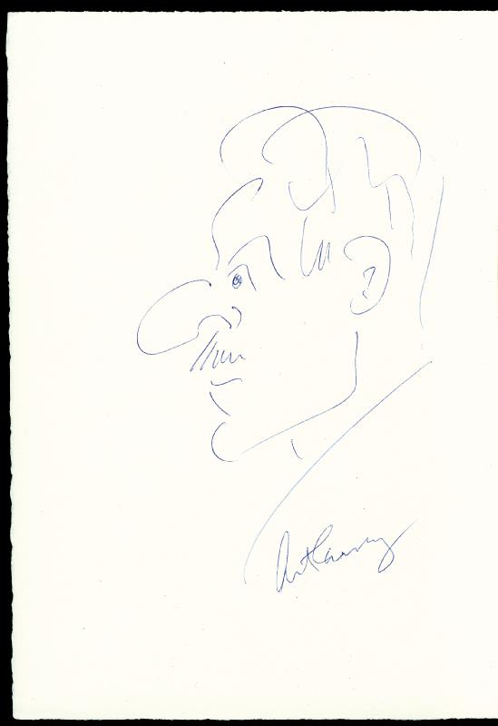 Image 1 for Art Carney - Self-caricature Signed - HFSID 173378