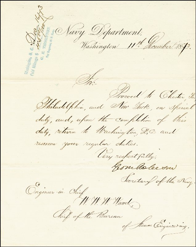 Image 1 for George M. Robeson - Manuscript Letter Signed 12/11/1873 - HFSID 17349
