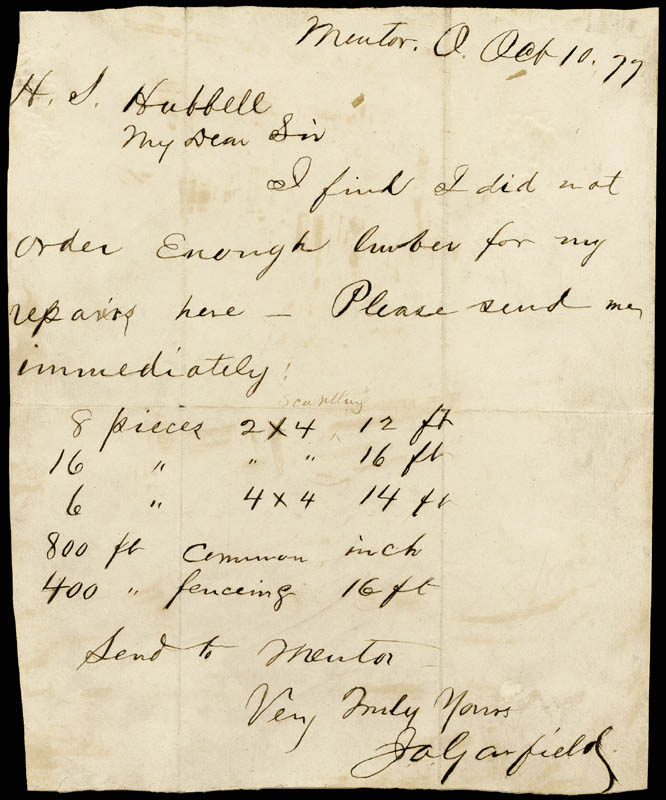 Image 1 for President James A. Garfield - Autograph Letter Signed 10/10/1877 - HFSID 17391