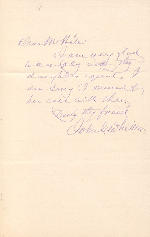 Image 1 for John Greenleaf Whittier - Autograph Letter Signed - HFSID 173992
