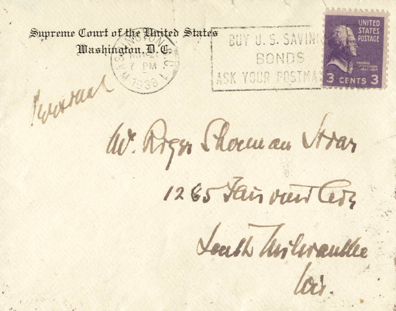 Image 1 for Associate Justice Louis D. Brandeis - Autograph Envelope Unsigned Circa 1938 - HFSID 174220
