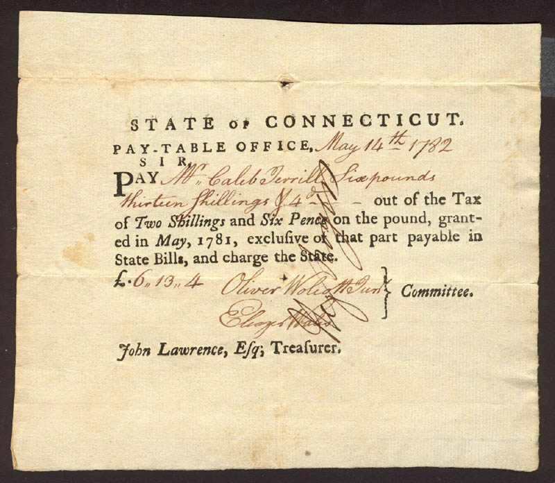 Image 1 for Oliver Wolcott Jr. - Promissory Note Signed 05/14/1782 co-signed by: Eleazer Wales, Hezekiah Rogers - HFSID 174238