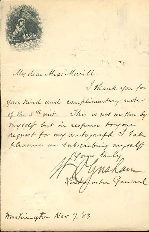 Image 1 for Brigadier General Walter Q. Gresham - Autograph Note Signed 11/07/1883 - HFSID 17429
