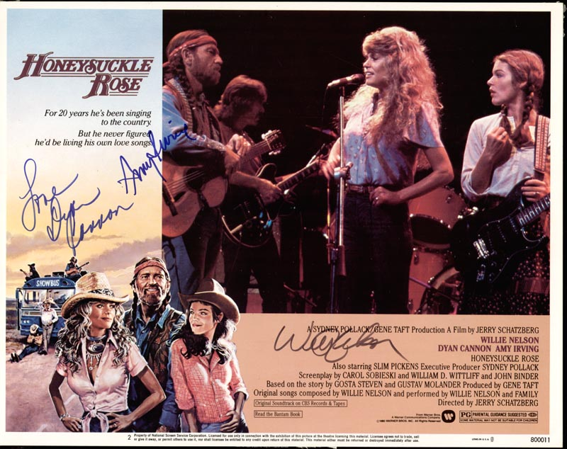 Image 1 for Honeysuckle Rose Movie Cast - Lobby Card Signed co-signed by: Amy Irving, Dyan Cannon, Willie Nelson - HFSID 174336