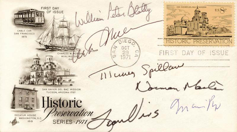 Image 1 for Arthur Miller - First Day Cover Signed co-signed by: Norman Mailer, Mario Puzo, Leon Uris, William Peter Blatty, Mickey Spillane - HFSID 174367