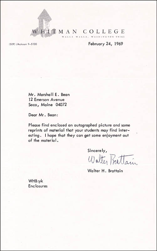 Image 1 for Walter Brattain - Typed Letter Signed 02/24/1969 - HFSID 174388