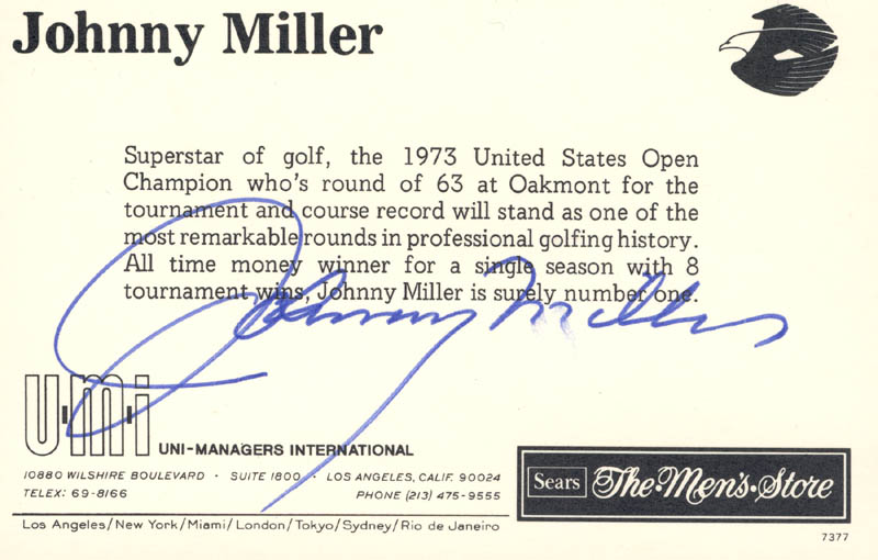 Image 1 for Johnny Miller - Picture Post Card Signed - HFSID 174401