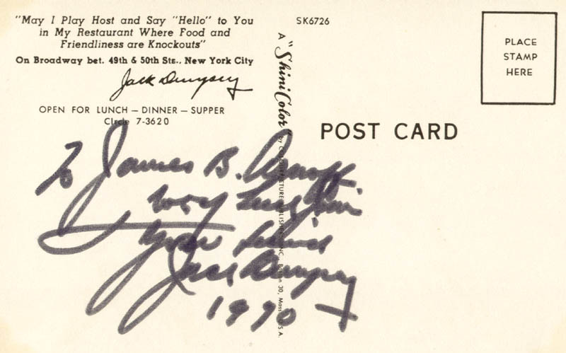 Image 1 for Jack Dempsey - Autograph Note Signed 1970 - HFSID 174478