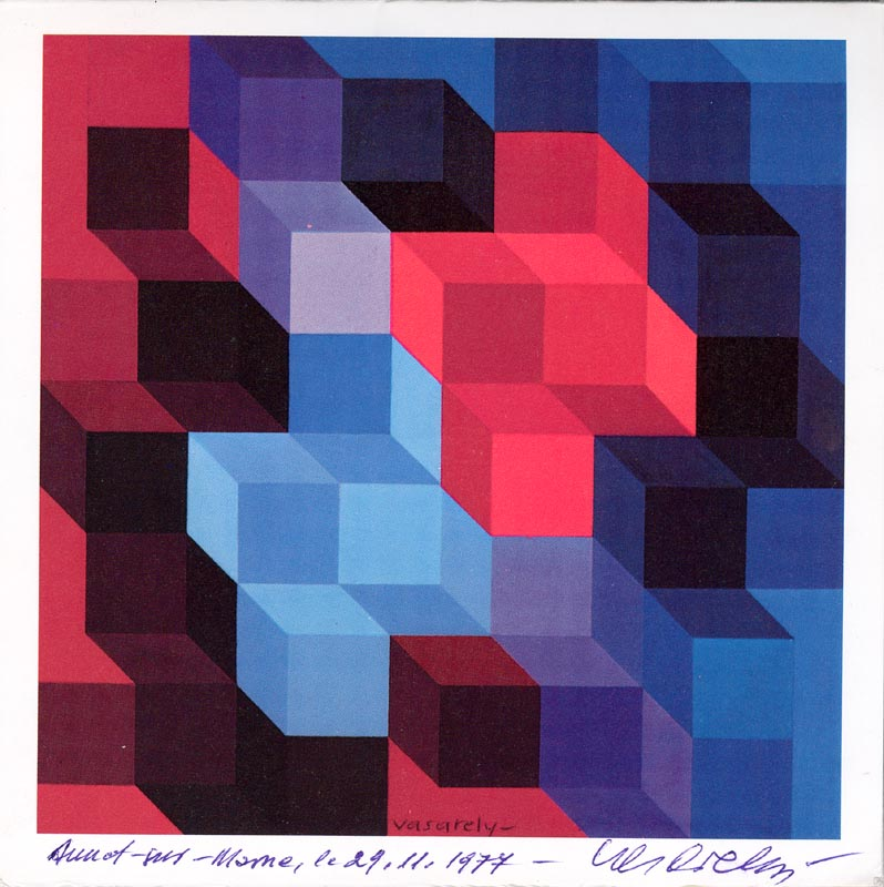 Image 1 for Victor Vasarely - Greeting Card Signed 11/29/1974 - HFSID 174565
