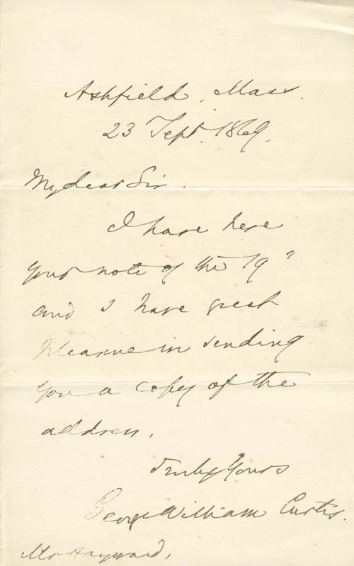 Image 1 for George William Curtis - Autograph Letter Signed 09/23/1869 - HFSID 174596