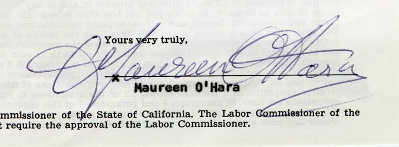 Image 1 for Maureen O'Hara - Printed Document Fragment Signed In Ink - HFSID 174647